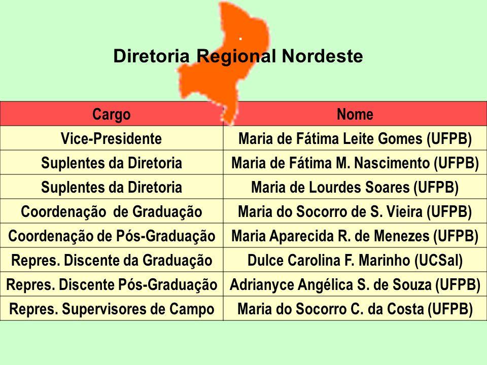 CargoNome Vice-PresidenteMaria de Fátima Leite Gomes (UFPB) Suplentes da DiretoriaMaria de Fátima M.