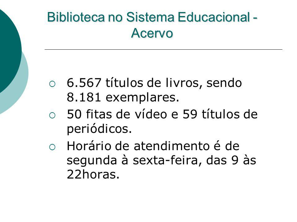 Biblioteca no Sistema Educacional - Acervo 6.567 títulos de livros, sendo 8.181 exemplares. 50 fitas de vídeo e 59 títulos de periódicos. Horário de a