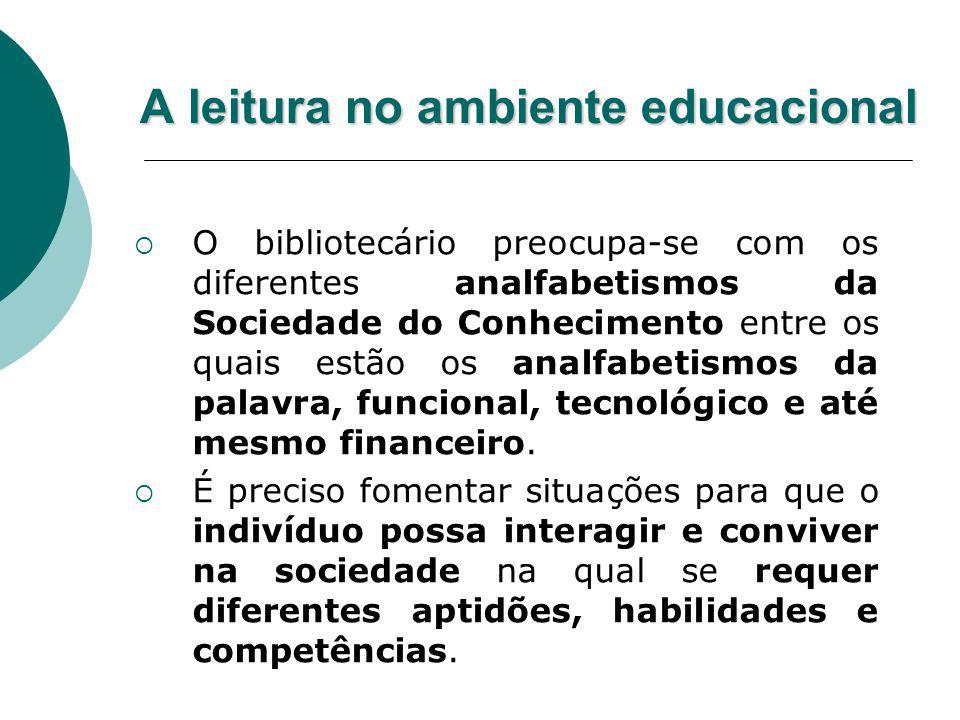 A leitura no ambiente educacional O bibliotecário preocupa-se com os diferentes analfabetismos da Sociedade do Conhecimento entre os quais estão os an