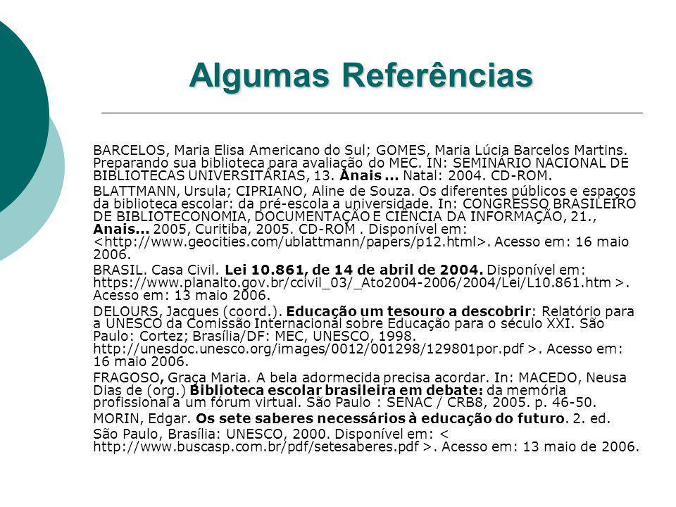 Algumas Referências BARCELOS, Maria Elisa Americano do Sul; GOMES, Maria Lúcia Barcelos Martins. Preparando sua biblioteca para avaliação do MEC. IN: