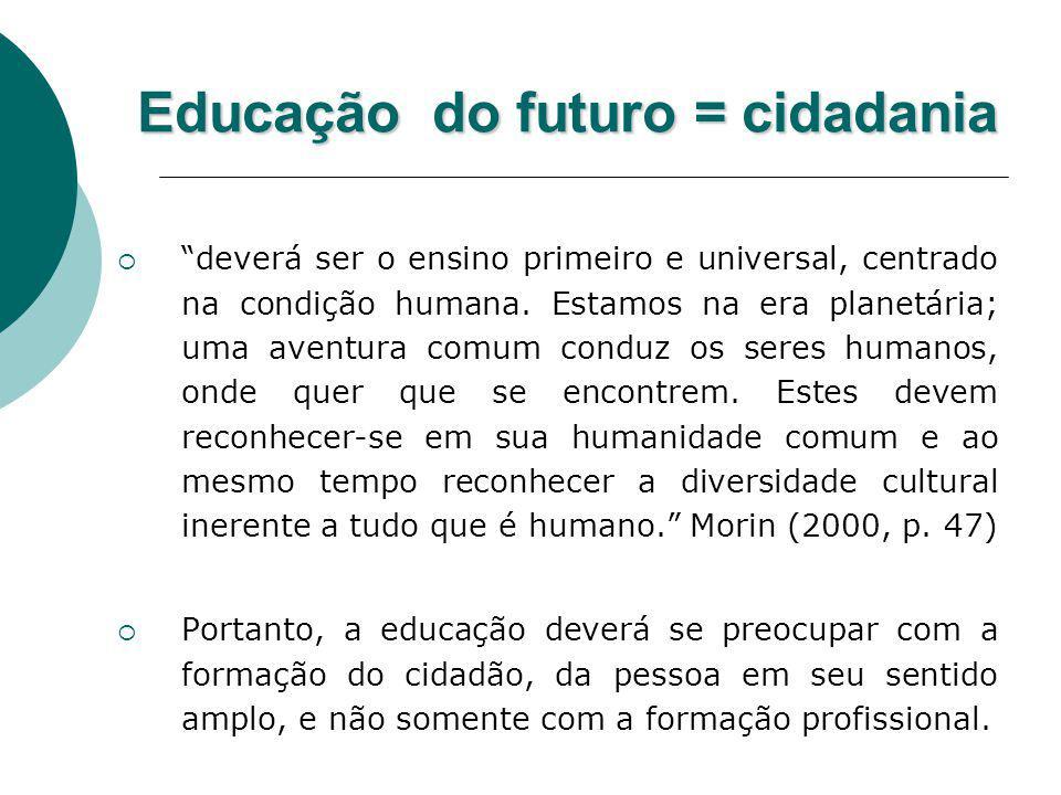 Educação do futuro = cidadania deverá ser o ensino primeiro e universal, centrado na condição humana. Estamos na era planetária; uma aventura comum co