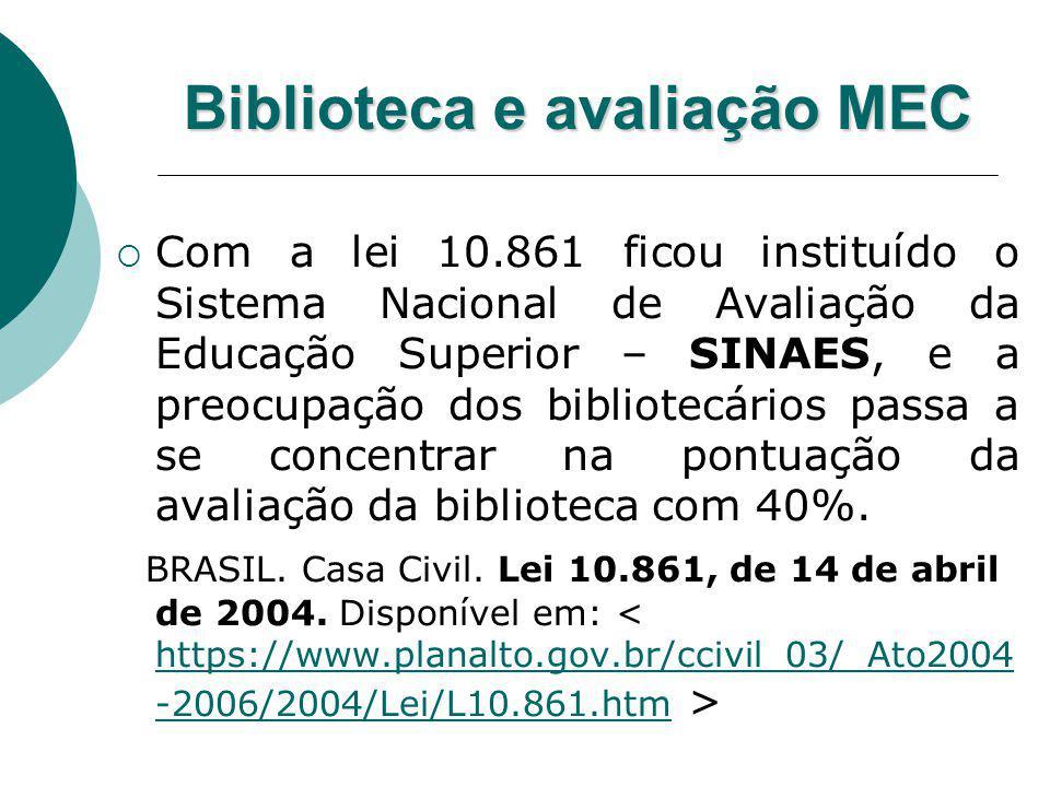 Biblioteca e avaliação MEC Com a lei 10.861 ficou instituído o Sistema Nacional de Avaliação da Educação Superior – SINAES, e a preocupação dos biblio