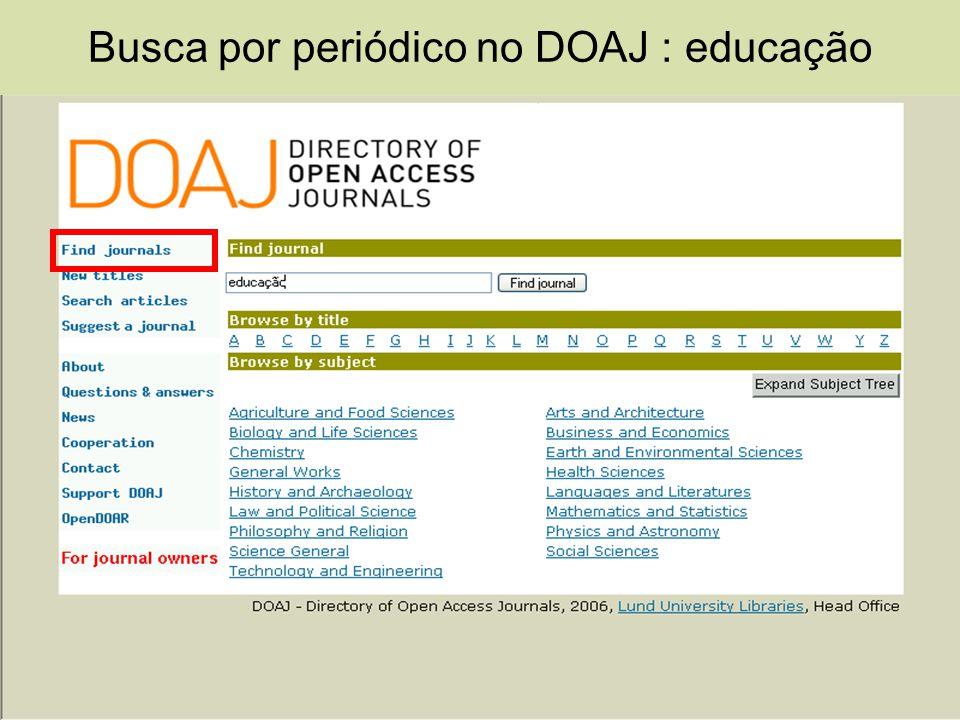 Busca por periódico no DOAJ : educação