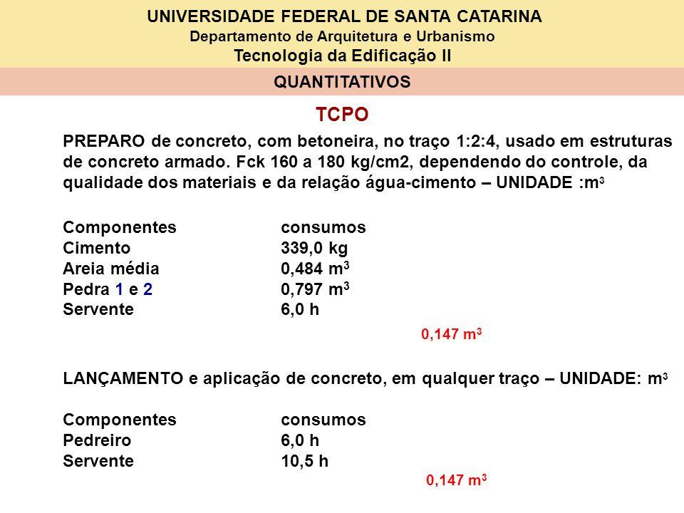 UNIVERSIDADE FEDERAL DE SANTA CATARINA Departamento de Arquitetura e Urbanismo Tecnologia da Edificação II QUANTITATIVOS TCPO PREPARO de concreto, com