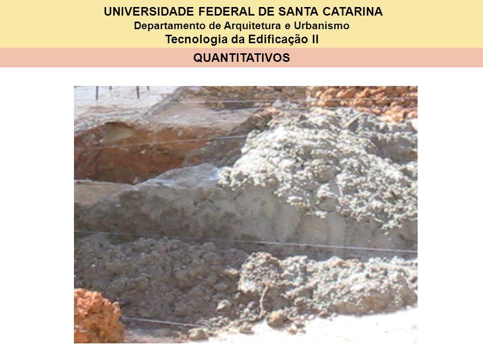 UNIVERSIDADE FEDERAL DE SANTA CATARINA Departamento de Arquitetura e Urbanismo Tecnologia da Edificação II QUANTITATIVOS Base [2 (A + B + 5 cm)].(h) 0,66m 2 Pescoço [2 (a + b + 5 cm)].(p) 0,74 m 2 Gravatas n°- - p:40 – toma o inteiro superior e adiciona 1 4 unidades Área [2(.05+.025+a+.025+.05) + +2(.05+.025+b+.025+.05)]x(.05) 0,065 m 2 4 x 0,065 = 0,26 m 2 Total 1,47m 2