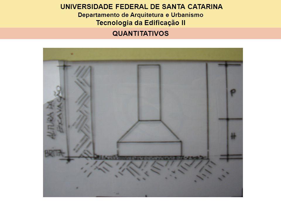 UNIVERSIDADE FEDERAL DE SANTA CATARINA Departamento de Arquitetura e Urbanismo Tecnologia da Edificação II QUANTITATIVOS 1 – SAPATAS –S1B (80x90x15x20x25x10x100) ITEM DISCRIMINAÇÃO QUANT.UNID.P R E Ç O (Em R$) UNITÁRIOTOTAL 1Serviços em terra 1.1Escavação ( 2,028 m 3 ) 1.2Reaterro ( m 3 ) 2 Lastro 2.1Brita 0,078 m 3 3 Fôrmas ( 1,47 m 2 ) 3.1 Tábuas 2,5x20x250 4 un 3.2 Prego 0,31 kg 4Armadura ( kg) 4.1 Aço CA 50 kg 4.2 Arame recozido kg 5 Concreto ( m 3 ) 5.1 Cimento kg 5.2 Areia m 3 5.3 Brita m 3 6 Mão-de-obra 6.1 Carpinteiro h 2,26 6.2 Armador h 6.3 Pedreiro h 0,81 + 6.4 Servente/ajudante h 4,46 +0,19 +2,26