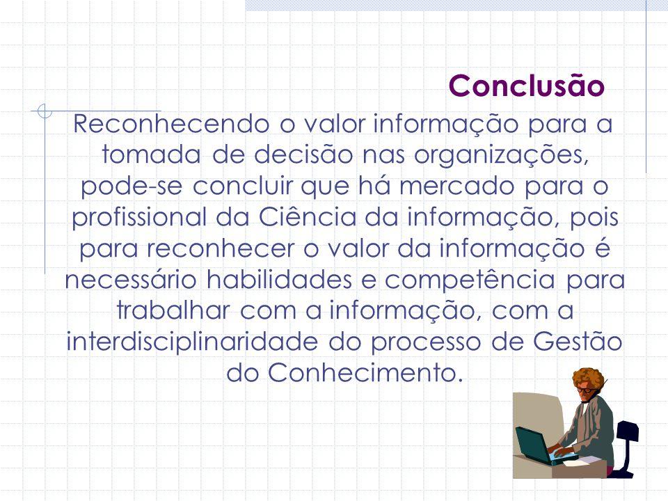Conclusão Reconhecendo o valor informação para a tomada de decisão nas organizações, pode-se concluir que há mercado para o profissional da Ciência da