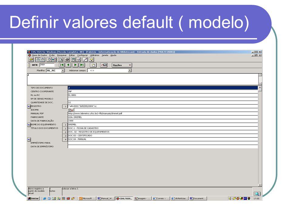 Definir valores default ( modelo)