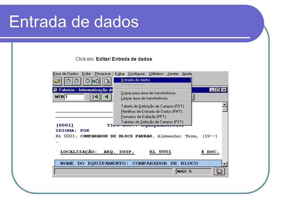 Planilha de entrada de dados Campo de Registro Repetitivo Clique no Botão para Duplicar os Dados a serem digitados.