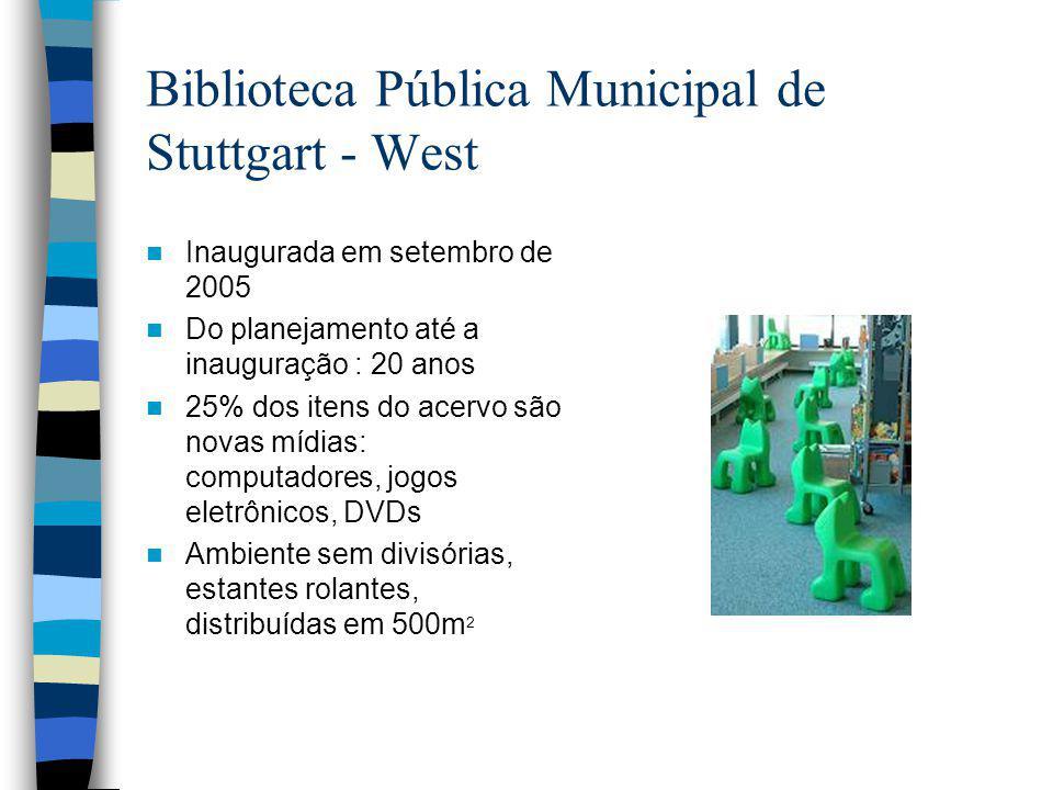 Biblioteca Pública Municipal de Stuttgart - West Inaugurada em setembro de 2005 Do planejamento até a inauguração : 20 anos 25% dos itens do acervo são novas mídias: computadores, jogos eletrônicos, DVDs Ambiente sem divisórias, estantes rolantes, distribuídas em 500m 2