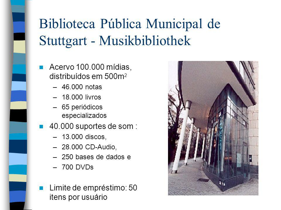 Biblioteca Pública Municipal de Stuttgart - Musikbibliothek Acervo 100.000 mídias, distribuídos em 500m 2 –46.000 notas –18.000 livros –65 periódicos especializados 40.000 suportes de som : –13.000 discos, –28.000 CD-Audio, –250 bases de dados e –700 DVDs Limite de empréstimo: 50 itens por usuário