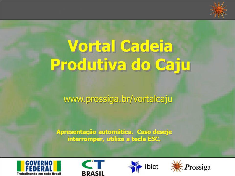 Início Apresentação Vortal Cadeia Produtiva do Caju www.prossiga.br/vortalcaju Prossiga Apresentação automática.