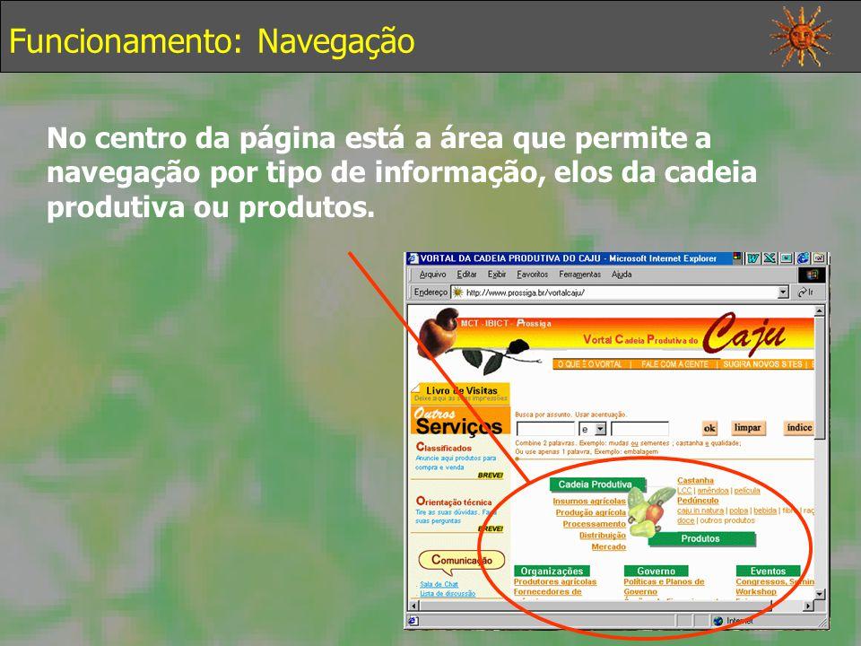 Funcionamento: Navegação No centro da página está a área que permite a navegação por tipo de informação, elos da cadeia produtiva ou produtos.