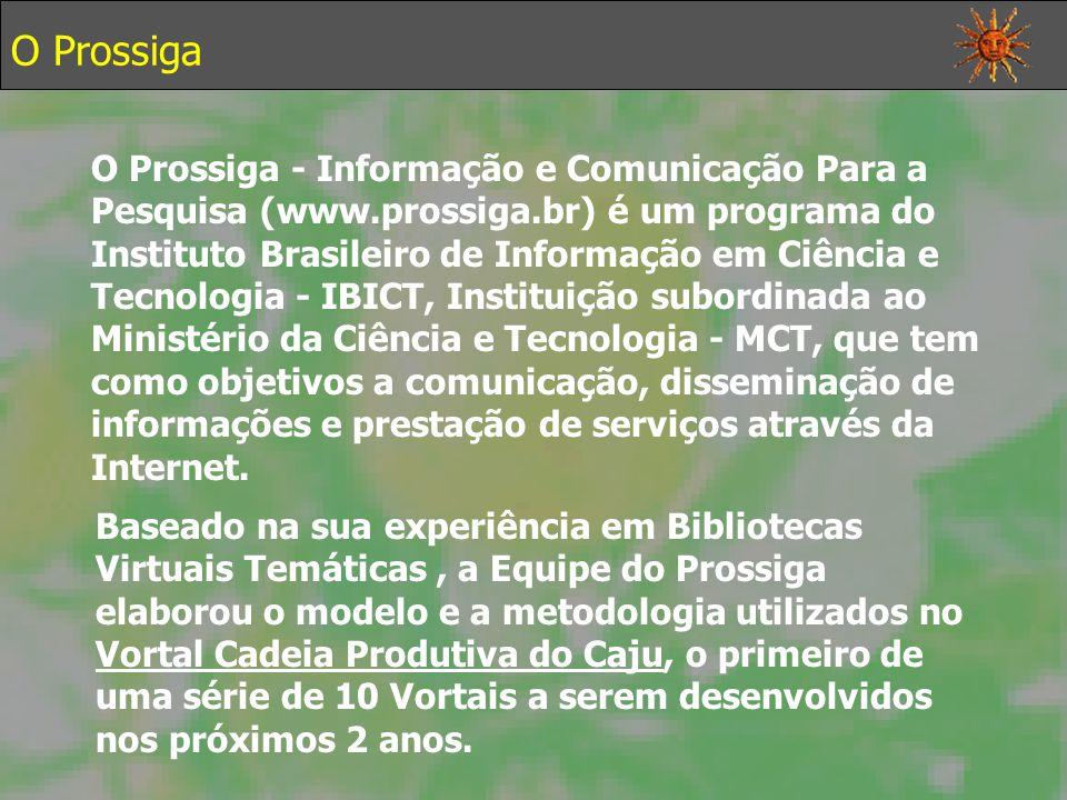 O Prossiga O Prossiga - Informação e Comunicação Para a Pesquisa (www.prossiga.br) é um programa do Instituto Brasileiro de Informação em Ciência e Tecnologia - IBICT, Instituição subordinada ao Ministério da Ciência e Tecnologia - MCT, que tem como objetivos a comunicação, disseminação de informações e prestação de serviços através da Internet.