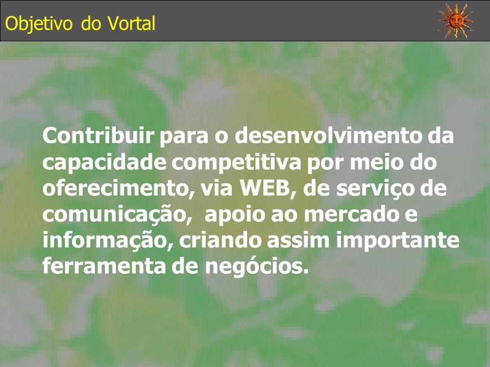 Objetivo do Vortal Contribuir para o desenvolvimento da capacidade competitiva por meio do oferecimento, via WEB, de serviço de comunicação, apoio ao mercado e informação, criando assim importante ferramenta de negócios.