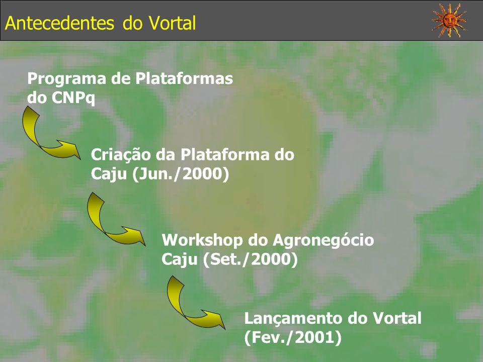 Programa de Plataformas do CNPq Criação da Plataforma do Caju (Jun./2000) Workshop do Agronegócio Caju (Set./2000) Lançamento do Vortal (Fev./2001) Antecedentes do Vortal
