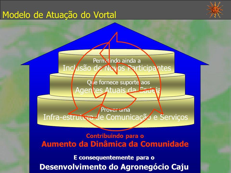Modelo de Atuação do Vortal Prover uma Infra-estrutura de Comunicação e Serviços Que fornece suporte aos Agentes Atuais da Cadeia Permitindo ainda a Inclusão de Novos Participantes Contribuindo para o Aumento da Dinâmica da Comunidade E consequentemente para o Desenvolvimento do Agronegócio Caju