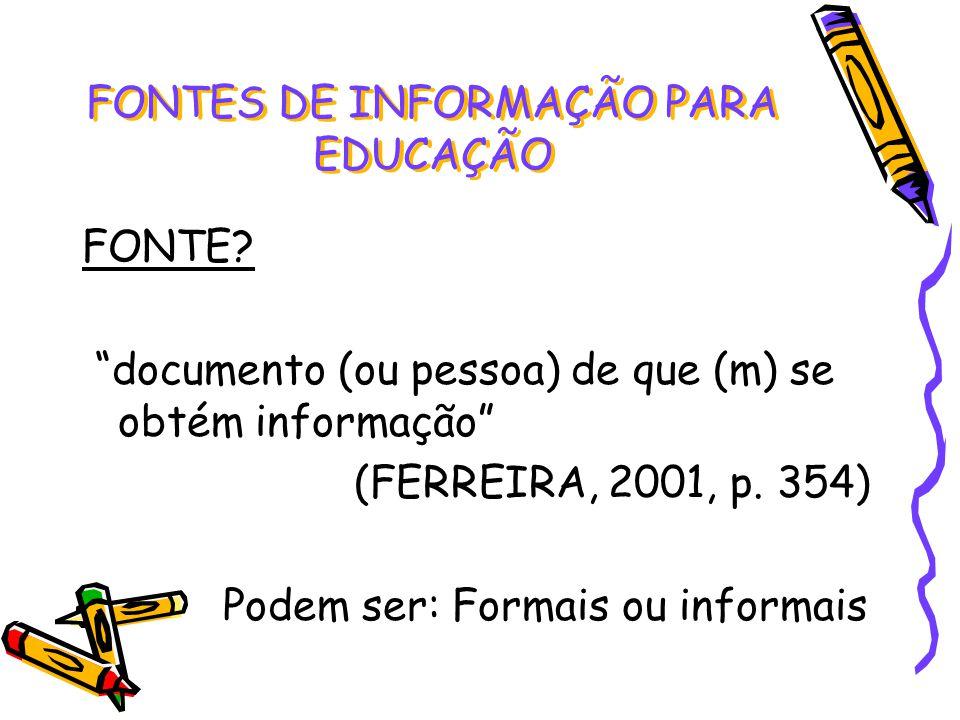 FONTE? documento (ou pessoa) de que (m) se obtém informação (FERREIRA, 2001, p. 354) Podem ser: Formais ou informais FONTES DE INFORMAÇÃO PARA EDUCAÇÃ