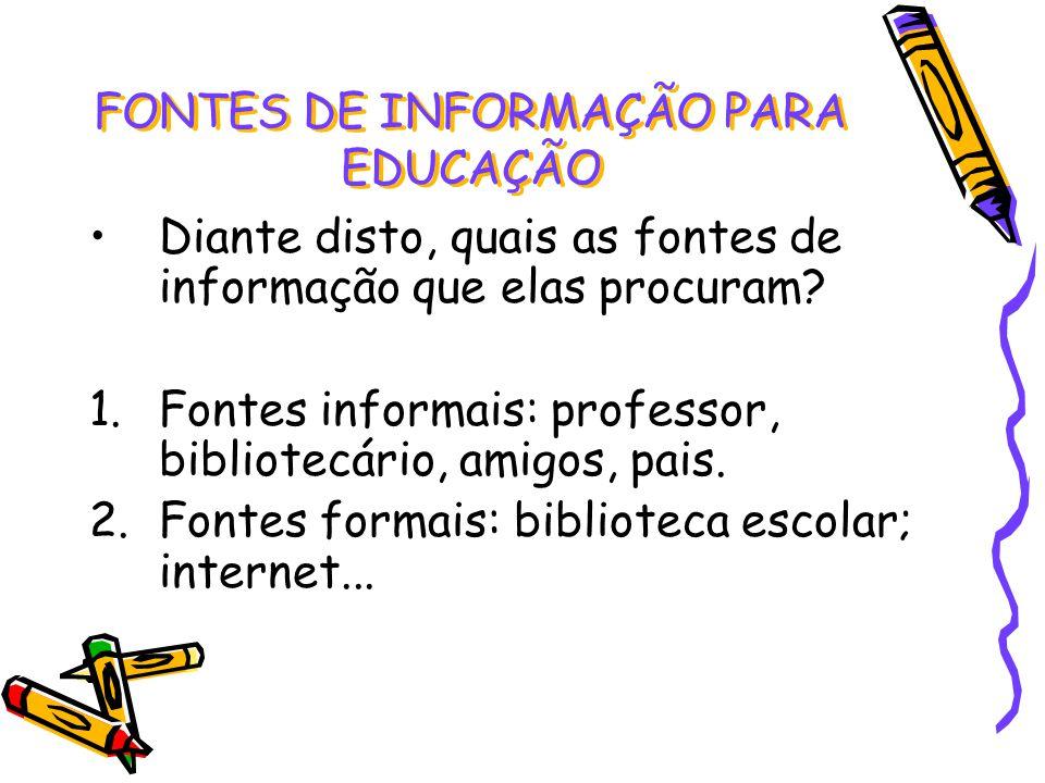 Diante disto, quais as fontes de informação que elas procuram? 1.Fontes informais: professor, bibliotecário, amigos, pais. 2.Fontes formais: bibliotec