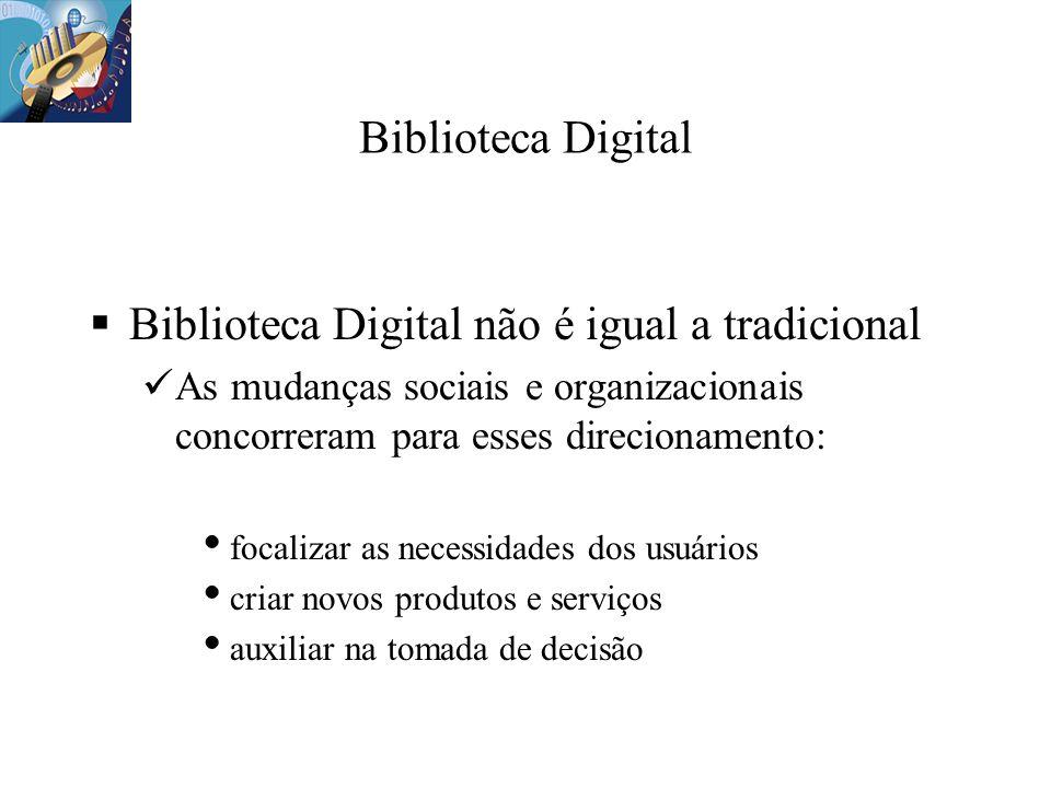 Biblioteca Digital Biblioteca Digital não é igual a tradicional As mudanças sociais e organizacionais concorreram para esses direcionamento: focalizar