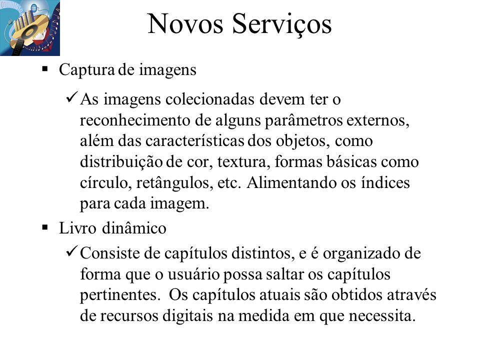 Novos Serviços Captura de imagens As imagens colecionadas devem ter o reconhecimento de alguns parâmetros externos, além das características dos objet