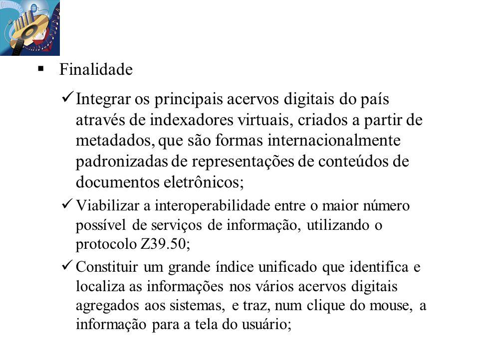 Finalidade Integrar os principais acervos digitais do país através de indexadores virtuais, criados a partir de metadados, que são formas internaciona