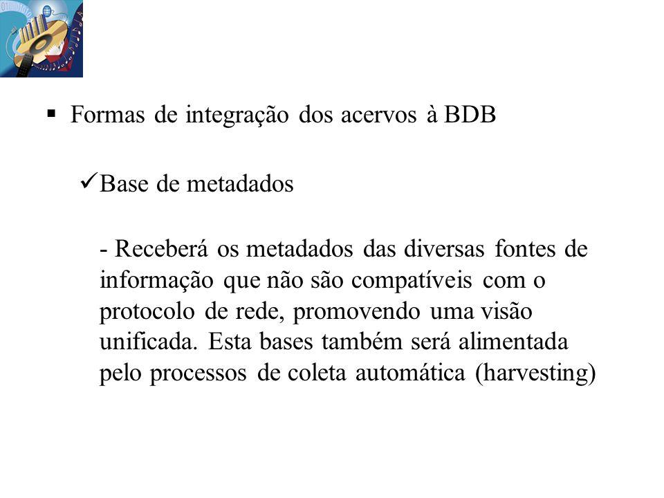 Formas de integração dos acervos à BDB Base de metadados - Receberá os metadados das diversas fontes de informação que não são compatíveis com o proto