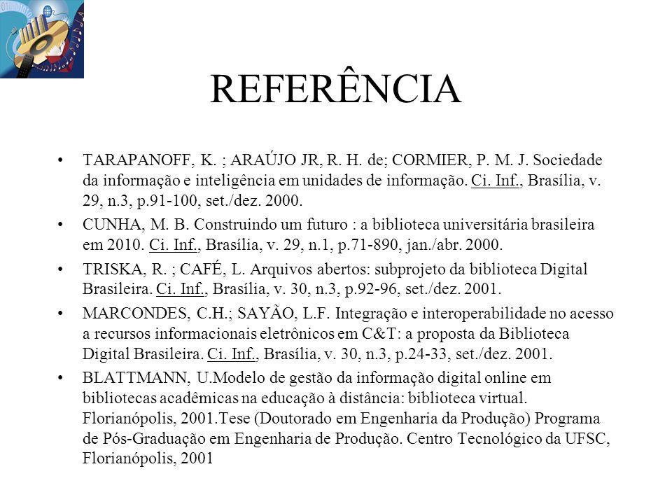 REFERÊNCIA TARAPANOFF, K. ; ARAÚJO JR, R. H. de; CORMIER, P. M. J. Sociedade da informação e inteligência em unidades de informação. Ci. Inf., Brasíli