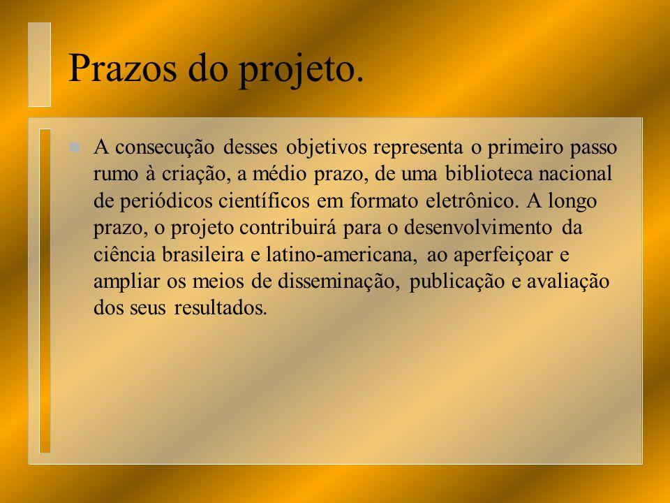 Prazos do projeto. n A consecução desses objetivos representa o primeiro passo rumo à criação, a médio prazo, de uma biblioteca nacional de periódicos