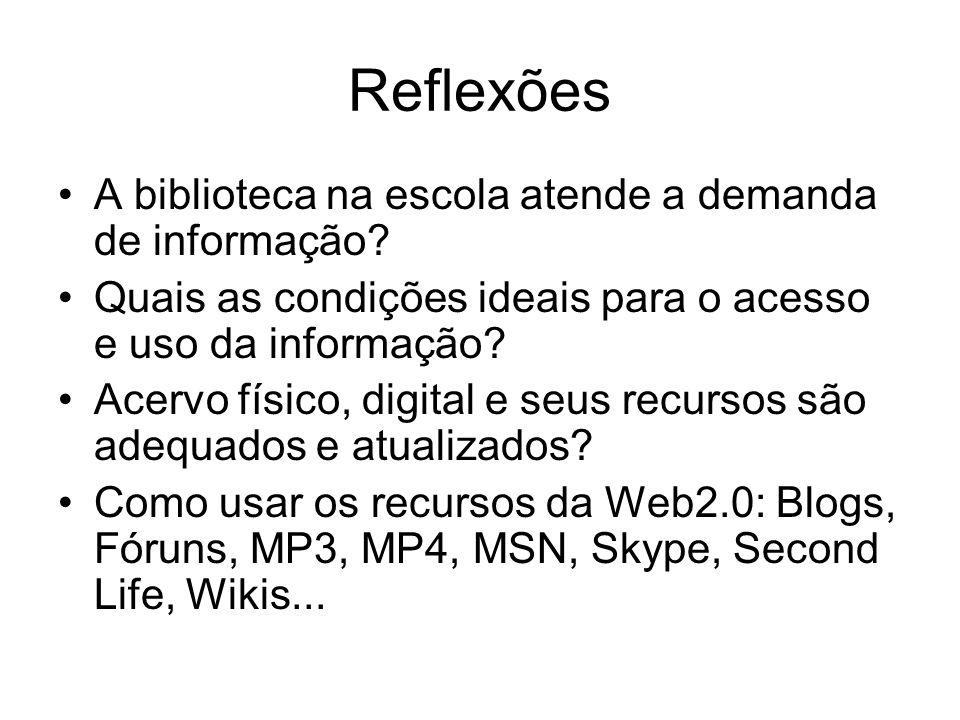 Reflexões A biblioteca na escola atende a demanda de informação? Quais as condições ideais para o acesso e uso da informação? Acervo físico, digital e