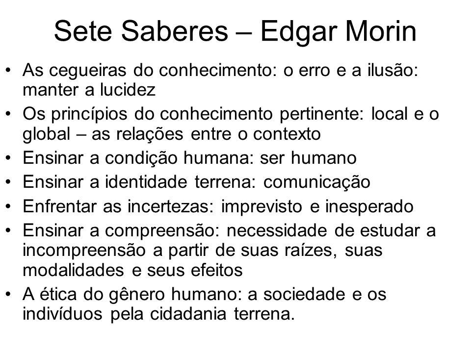Sete Saberes – Edgar Morin As cegueiras do conhecimento: o erro e a ilusão: manter a lucidez Os princípios do conhecimento pertinente: local e o globa