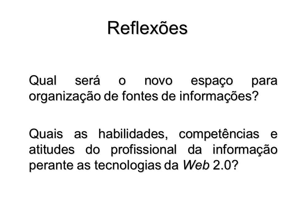 Reflexões Qual será o novo espaço para organização de fontes de informações? Quais as habilidades, competências e atitudes do profissional da informaç