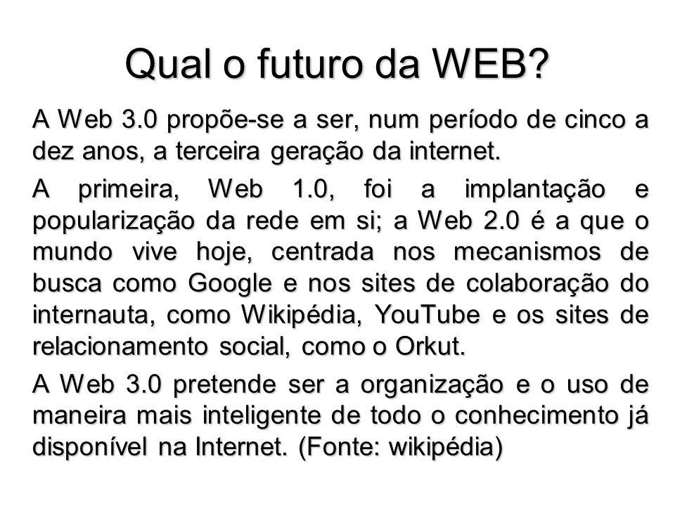 Qual o futuro da WEB? A Web 3.0 propõe-se a ser, num período de cinco a dez anos, a terceira geração da internet. A primeira, Web 1.0, foi a implantaç