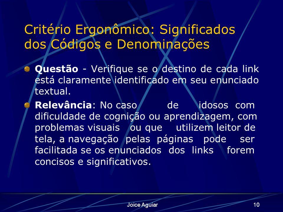 Joice Aguiar10 Critério Ergonômico: Significados dos Códigos e Denominações Questão - Verifique se o destino de cada link está claramente identificado em seu enunciado textual.
