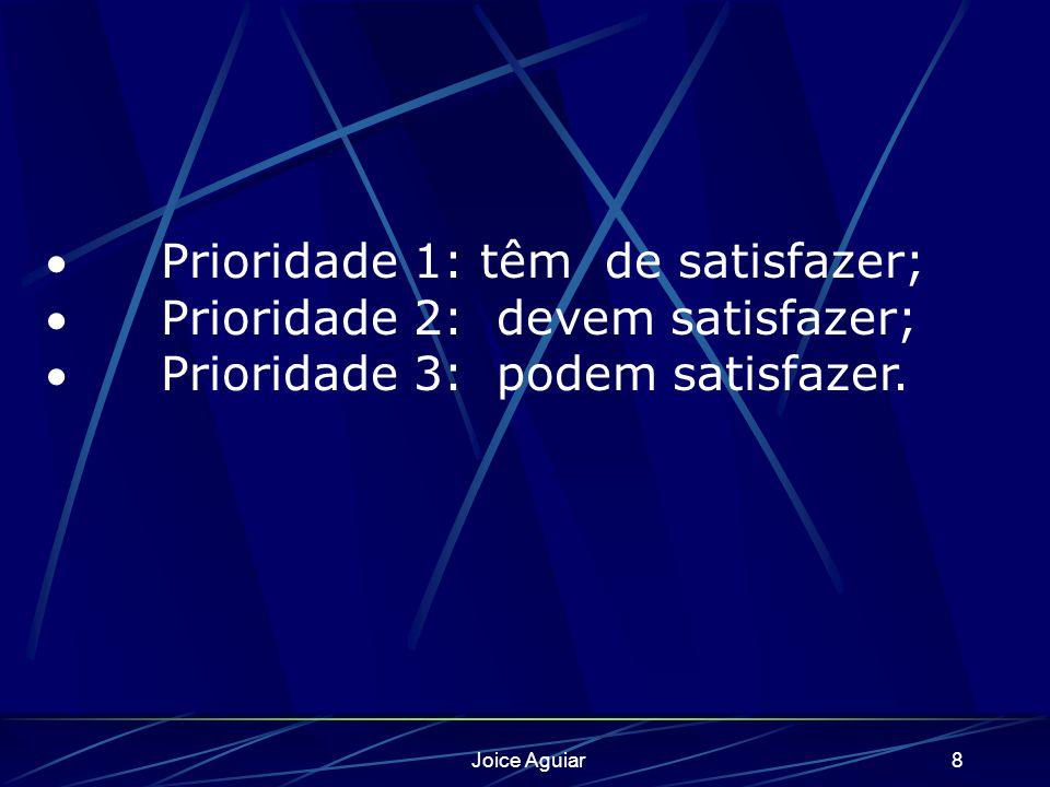Joice Aguiar8 Prioridade 1: têm de satisfazer; Prioridade 2: devem satisfazer; Prioridade 3: podem satisfazer.