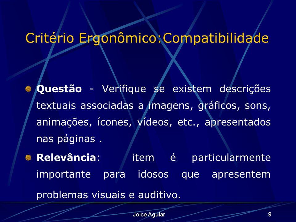 Joice Aguiar9 Critério Ergonômico:Compatibilidade Questão - Verifique se existem descrições textuais associadas a imagens, gráficos, sons, animações,