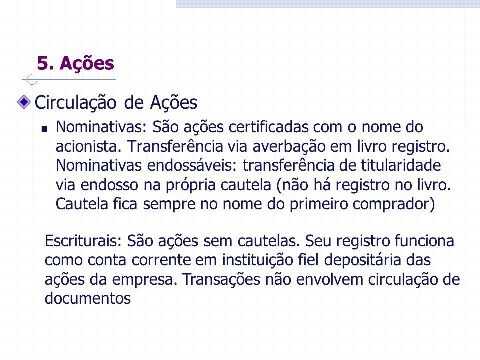 5.Ações Tipos de Ações Ordinárias: conferem direito a voto em assembléias de acionistas.