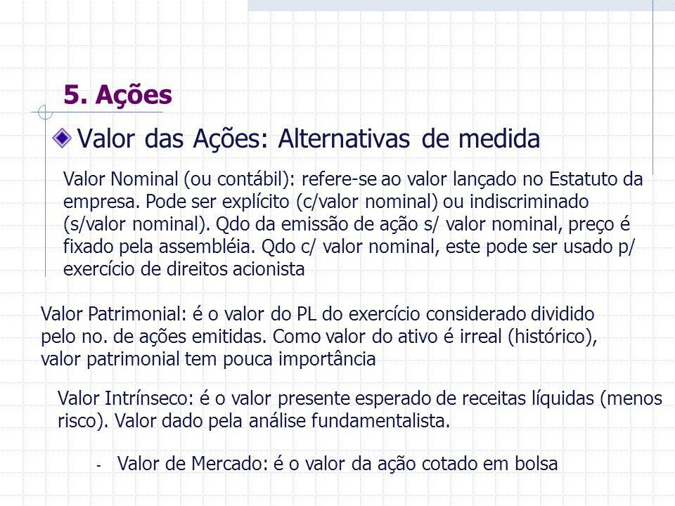 5.Ações Circulação de Ações Nominativas: São ações certificadas com o nome do acionista.