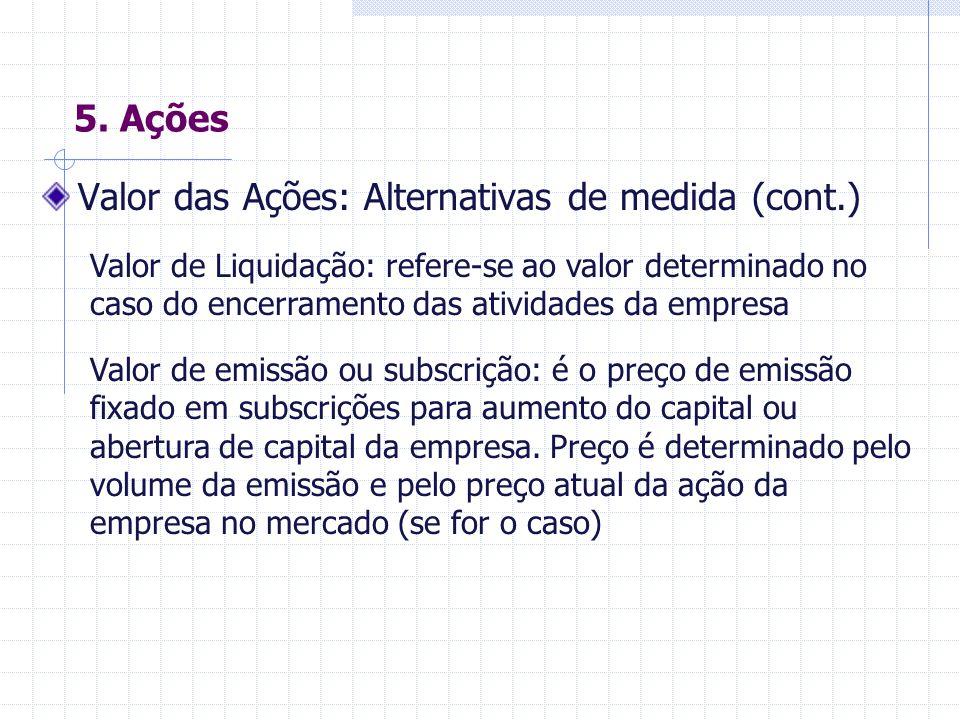 5. Ações Valor das Ações: Alternativas de medida Valor Nominal (ou contábil): refere-se ao valor lançado no Estatuto da empresa. Pode ser explícito (c
