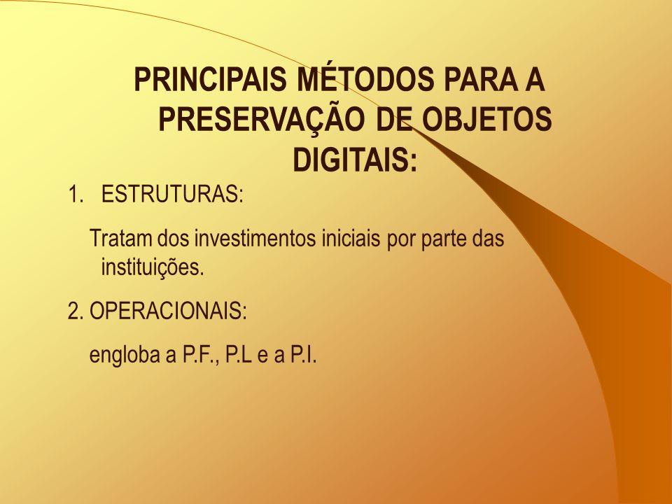 PRINCIPAIS MÉTODOS PARA A PRESERVAÇÃO DE OBJETOS DIGITAIS: 1.ESTRUTURAS: Tratam dos investimentos iniciais por parte das instituições. 2. OPERACIONAIS