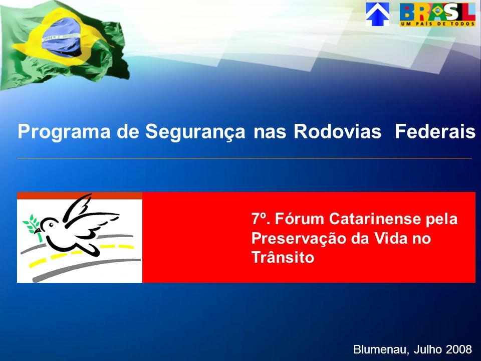 Programa de Segurança nas Rodovias Federais Blumenau, Julho 2008 7º. Fórum Catarinense pela Preservação da Vida no Trânsito