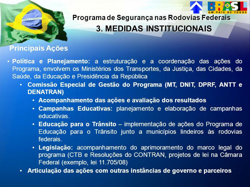 Principais Ações 3. MEDIDAS INSTITUCIONAIS Programa de Segurança nas Rodovias Federais Política e Planejamento: a estruturação e a coordenação das açõ