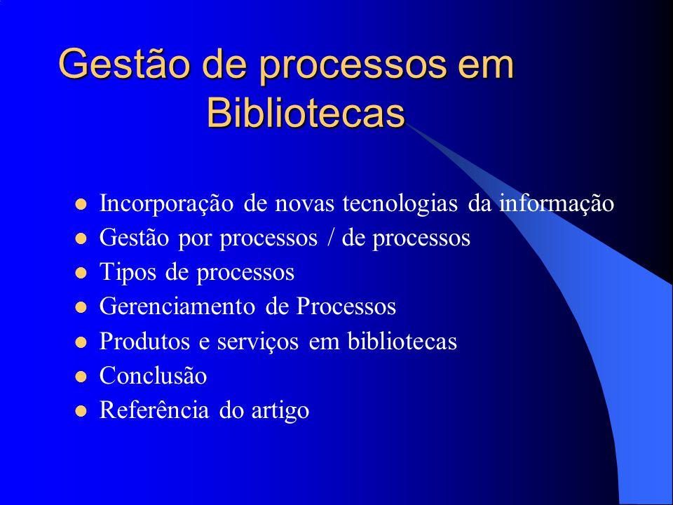 Gestão de processos em Bibliotecas Incorporação de novas tecnologias da informação Gestão por processos / de processos Tipos de processos Gerenciament