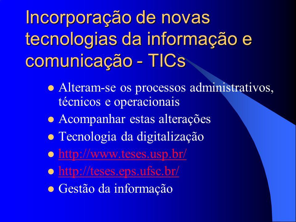 Incorporação de novas tecnologias da informação e comunicação - TICs Alteram-se os processos administrativos, técnicos e operacionais Acompanhar estas