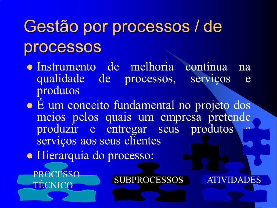 Gestão por processos / de processos Instrumento de melhoria contínua na qualidade de processos, serviços e produtos É um conceito fundamental no proje