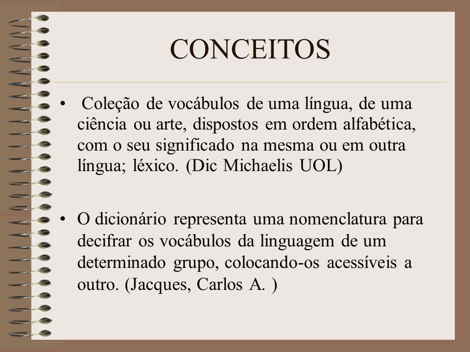 CONCEITOS Livro em que se dispõe e estudam, por ordem alfabética, as palavras de uma ou mais línguas, ou as palavras de uma ciência ou arte. Não é rar