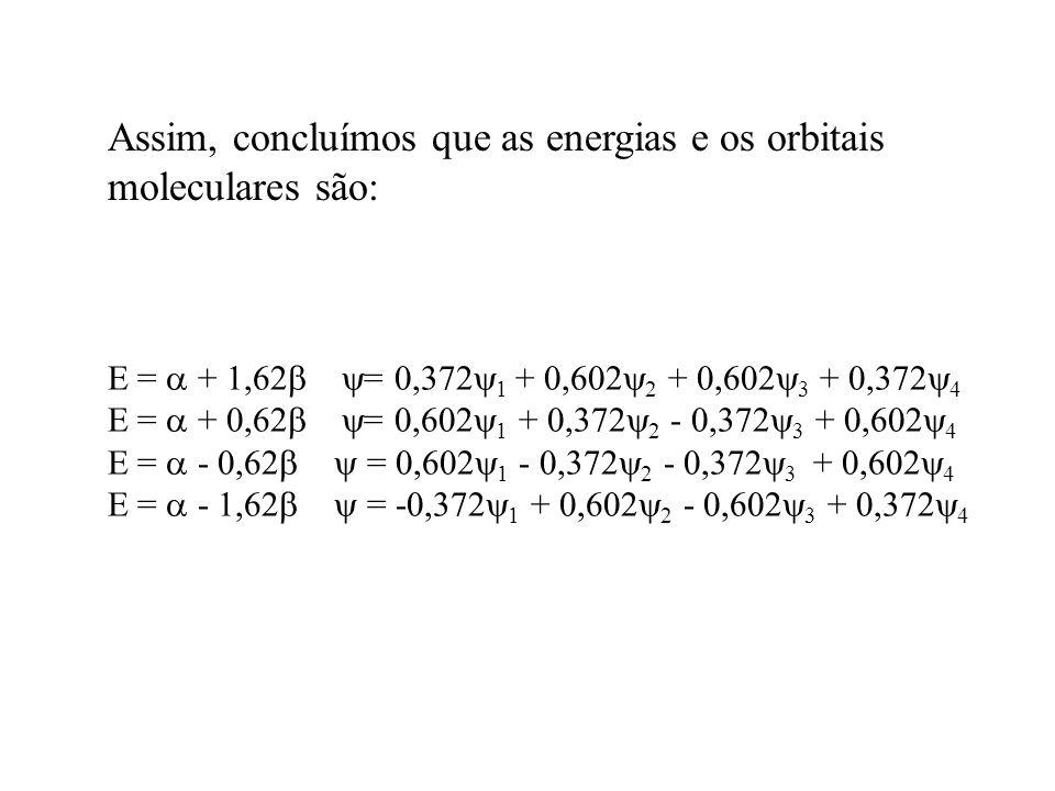 E = + 1,62 = 0,372 1 + 0,602 2 + 0,602 3 + 0,372 4 E = + 0,62 = 0,602 1 + 0,372 2 - 0,372 3 + 0,602 4 E = - 0,62 = 0,602 1 - 0,372 2 - 0,372 3 + 0,602