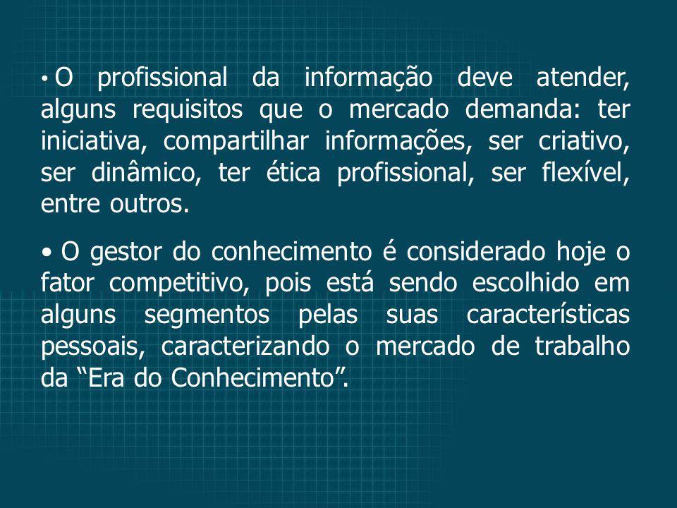 O profissional da informação deve atender, alguns requisitos que o mercado demanda: ter iniciativa, compartilhar informações, ser criativo, ser dinâmico, ter ética profissional, ser flexível, entre outros.