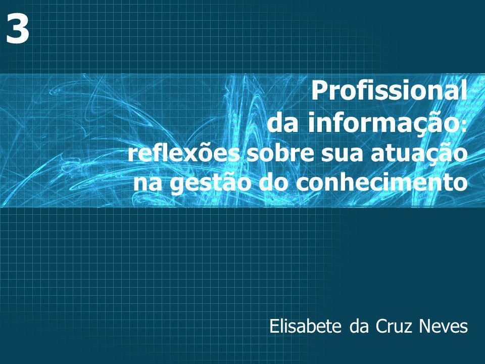 Profissional da informação : reflexões sobre sua atuação na gestão do conhecimento 3 Elisabete da Cruz Neves
