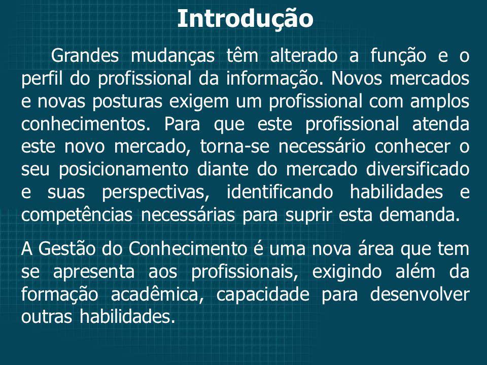 Introdução Grandes mudanças têm alterado a função e o perfil do profissional da informação.